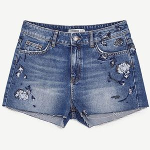 Zara Basic Denim | Embellished Beaded Shorts